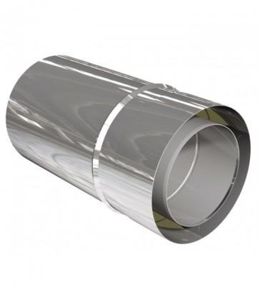 élément de cheminée inox L360mm recoupable ép. 0,6mm isolé 25mm