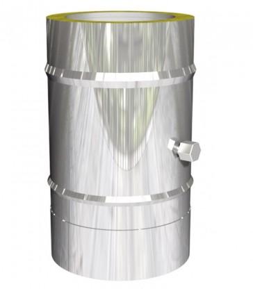 Elément droit cheminée inox L360mm avec manchon de mesure  isolé 25mm
