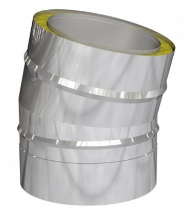 Coude 15° pour cheminée inox double paroi isolé 25 mm