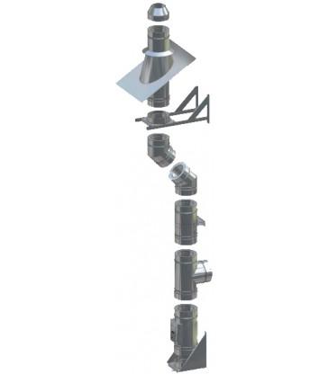 Pack cheminée Double paroi Isolée Ø200mm Fixation murale