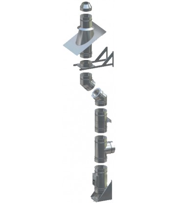 Pack cheminée Double paroi Isolée Ø250mm Fixation murale