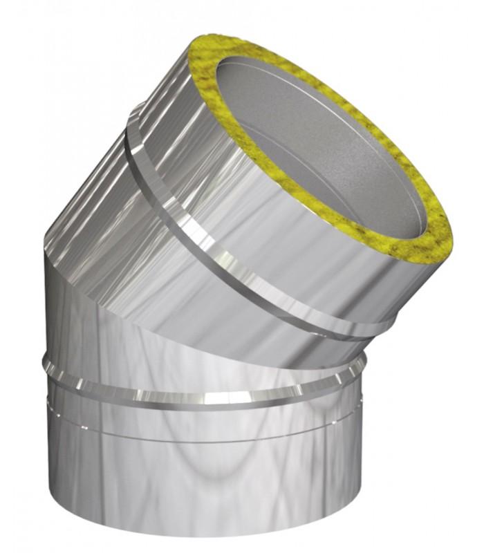 Coude 45° pour cheminée inox double paroi isolé 25 mm