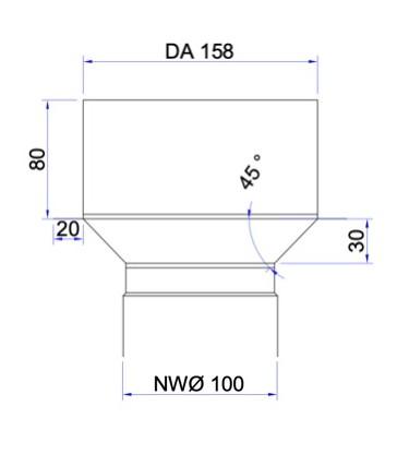 Adaptateur raccordement poele a granulé sur départ plafond EKA diamètre 150 _100_80